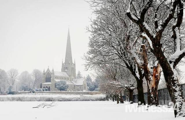 A blanket of snow surrounds St Mary's Church, Snettisham.
